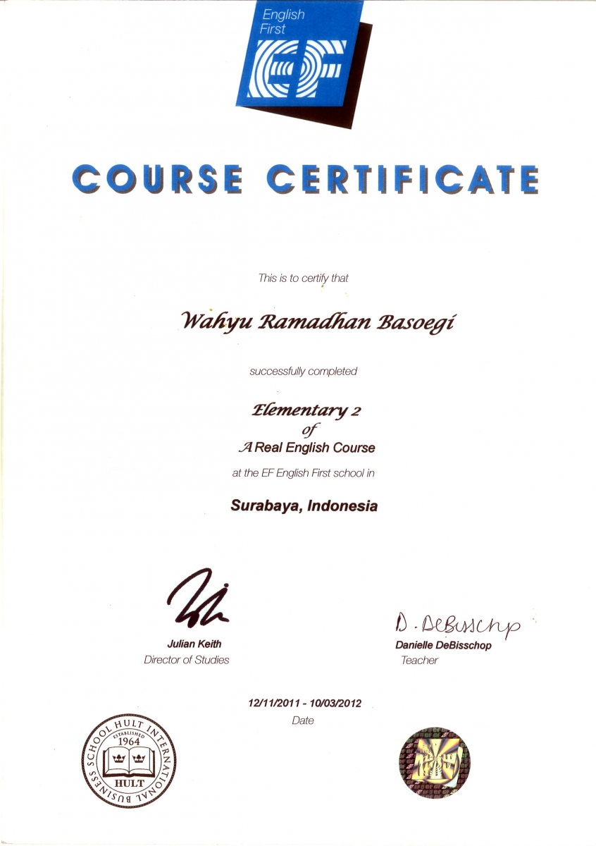 ef english course certificate - resume