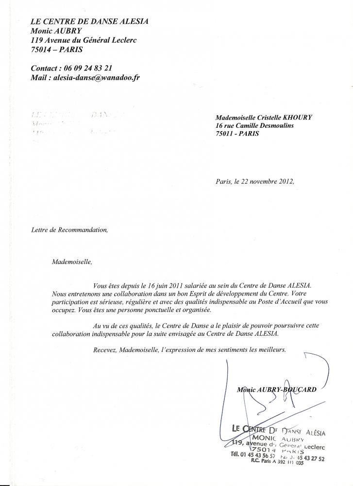 lettre de recommandation - cv