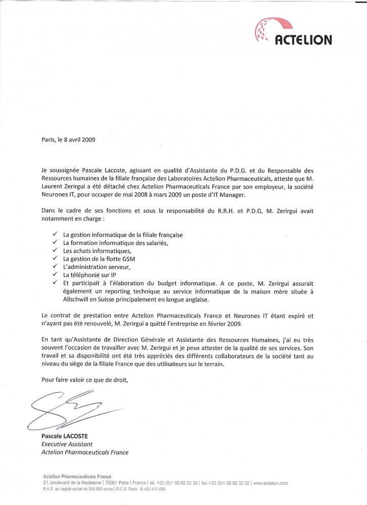 lettre de recommandation - actelion - cv