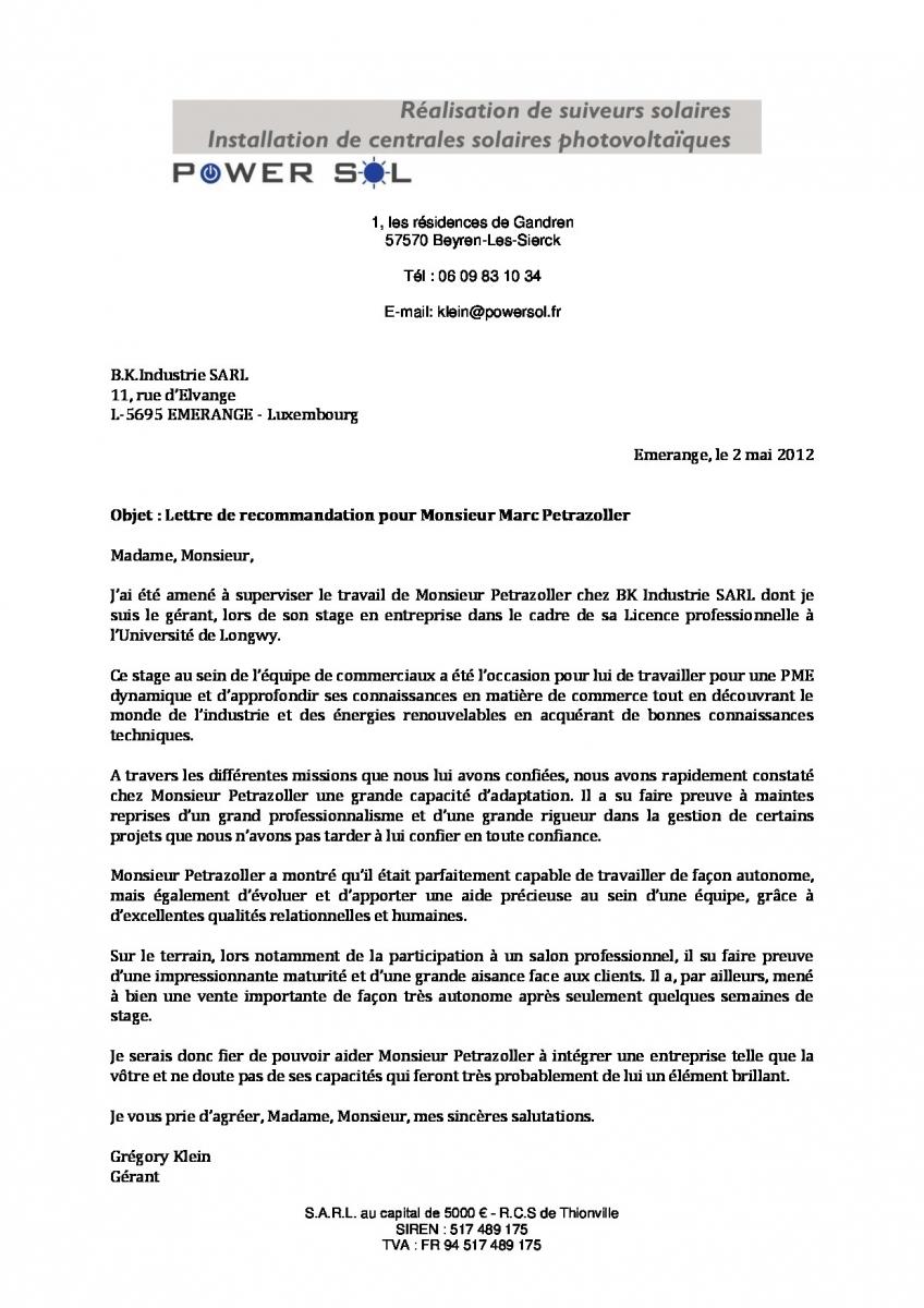 lettre de recommandation b k industrie - cv