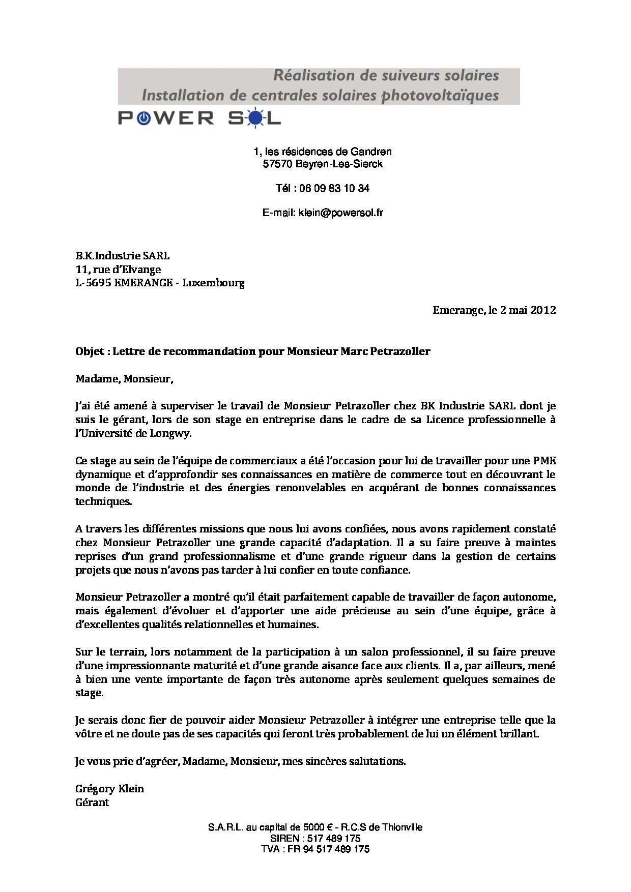 lettre de recommandation b k industrie - cv
