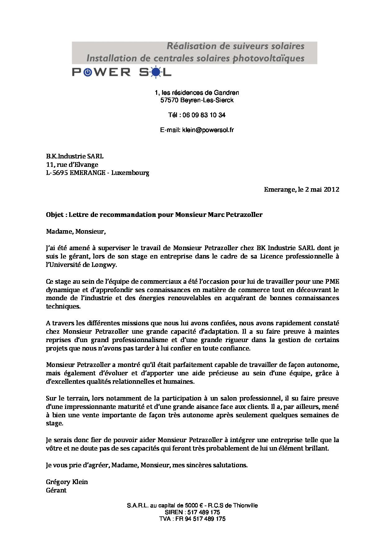 lettre de recommandation master 2