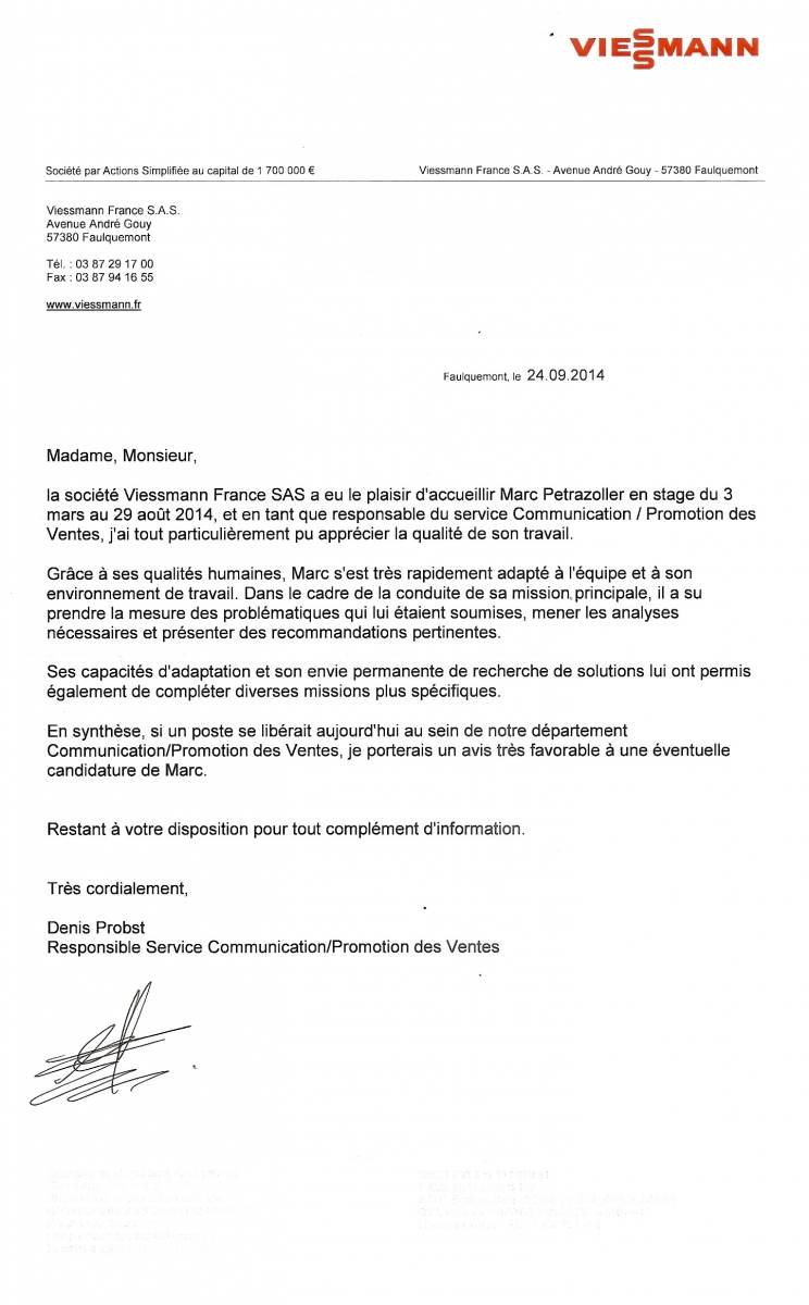 lettre de recommandation viessmann - cv