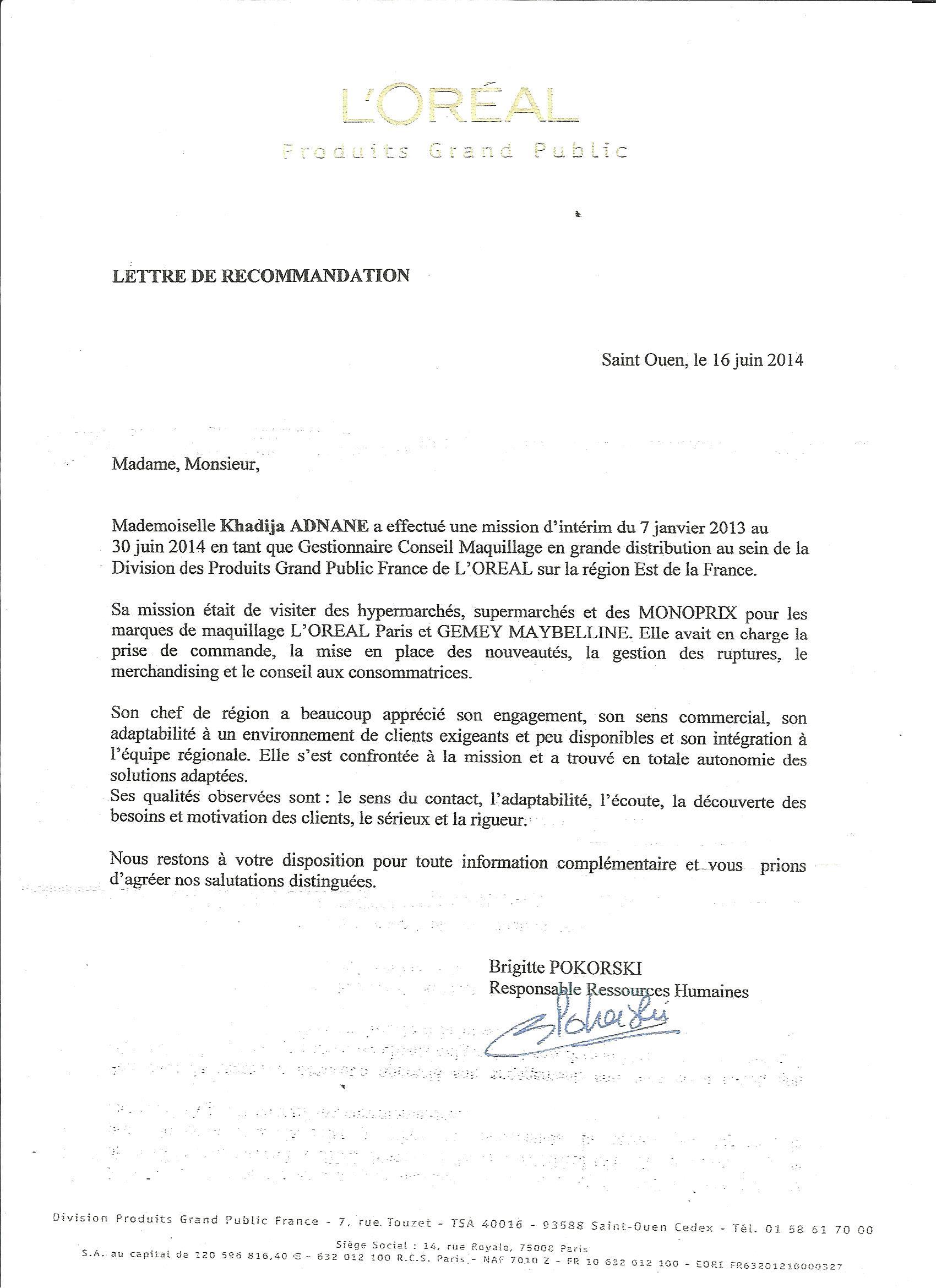 lettre de recommandation l u0026 39 oreal - cv