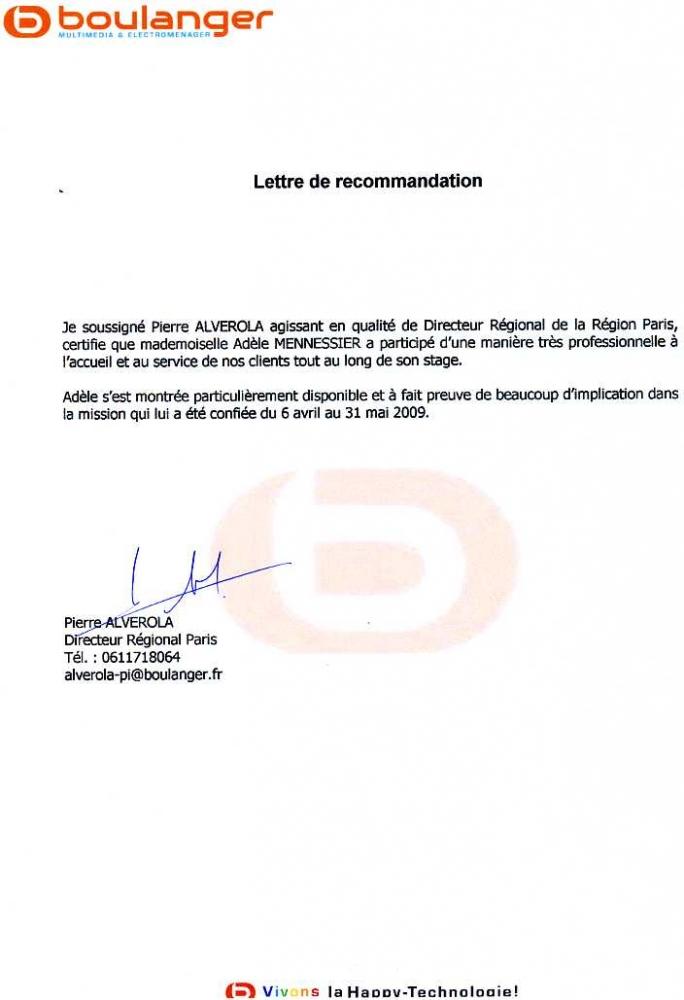 Lettre de recommandation boulanger cv adle mennessier lettre de recommandation boulanger altavistaventures Choice Image
