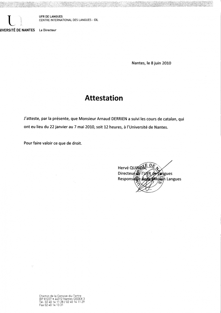 attestation catalan - cv