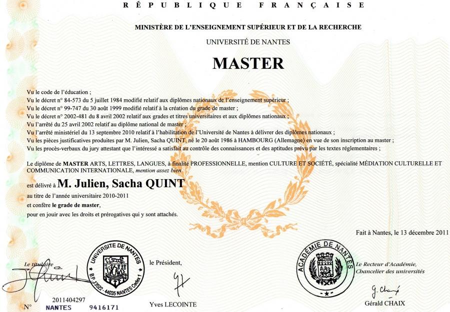 diplome de master 1