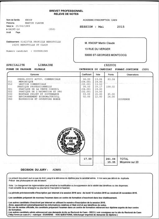 relev u00e9 de notes brevet professionnel de libraire