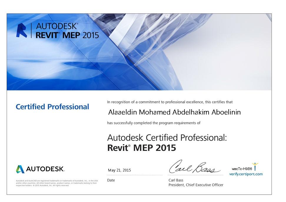 Autodesk Revit Certified Professional Resume Alaaeldin Aboelinin