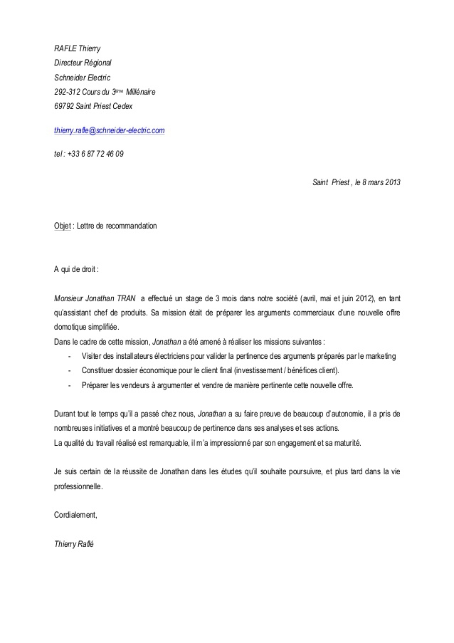 lettre de recommandation  directeur commercial - cv