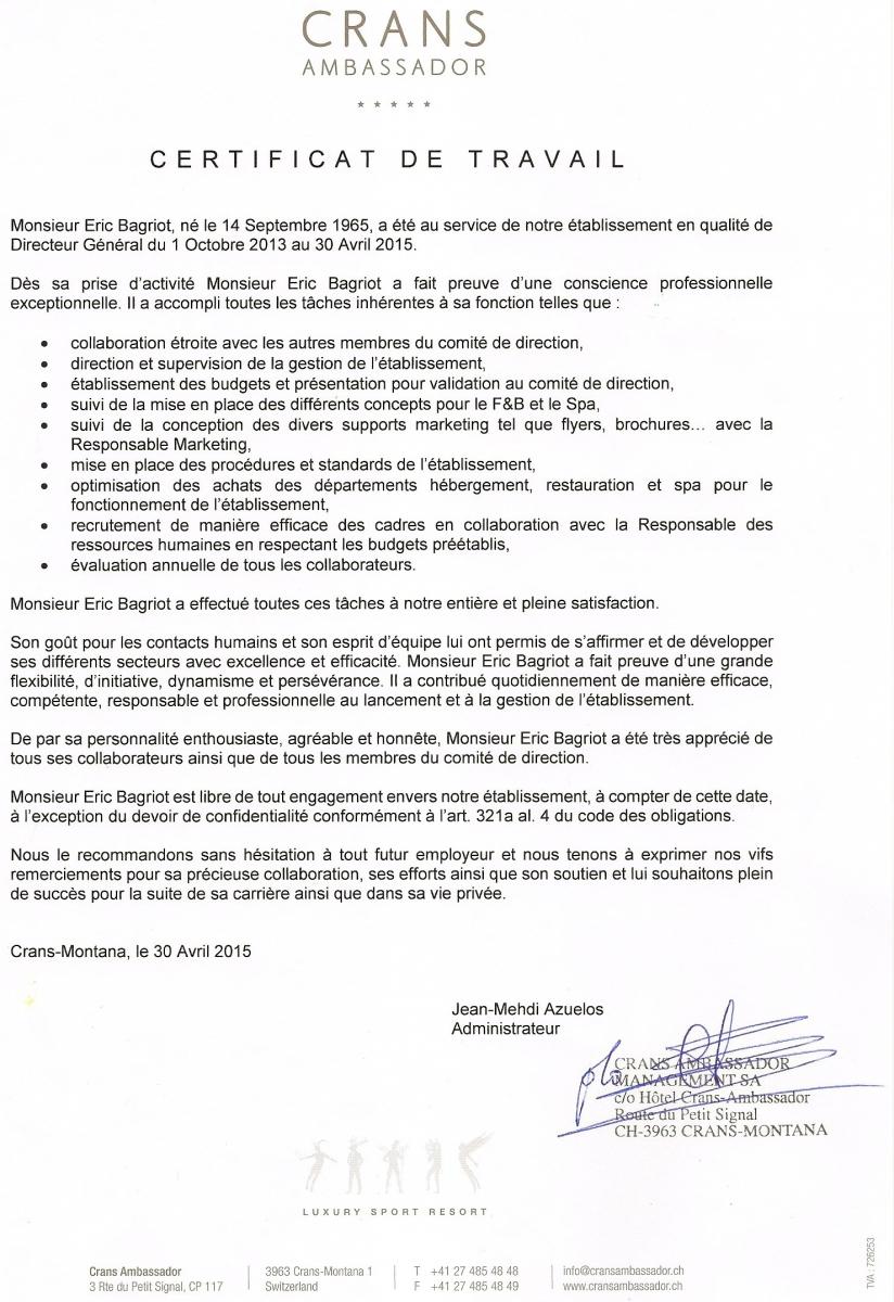 certificat de travail le plus r u00e9cent - cv