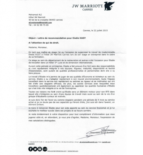 lettre de recommandation jw marriott cannes 2016 - cv