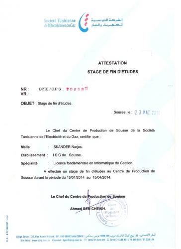 attestation de stage de fin d u0026 39 etude - cv