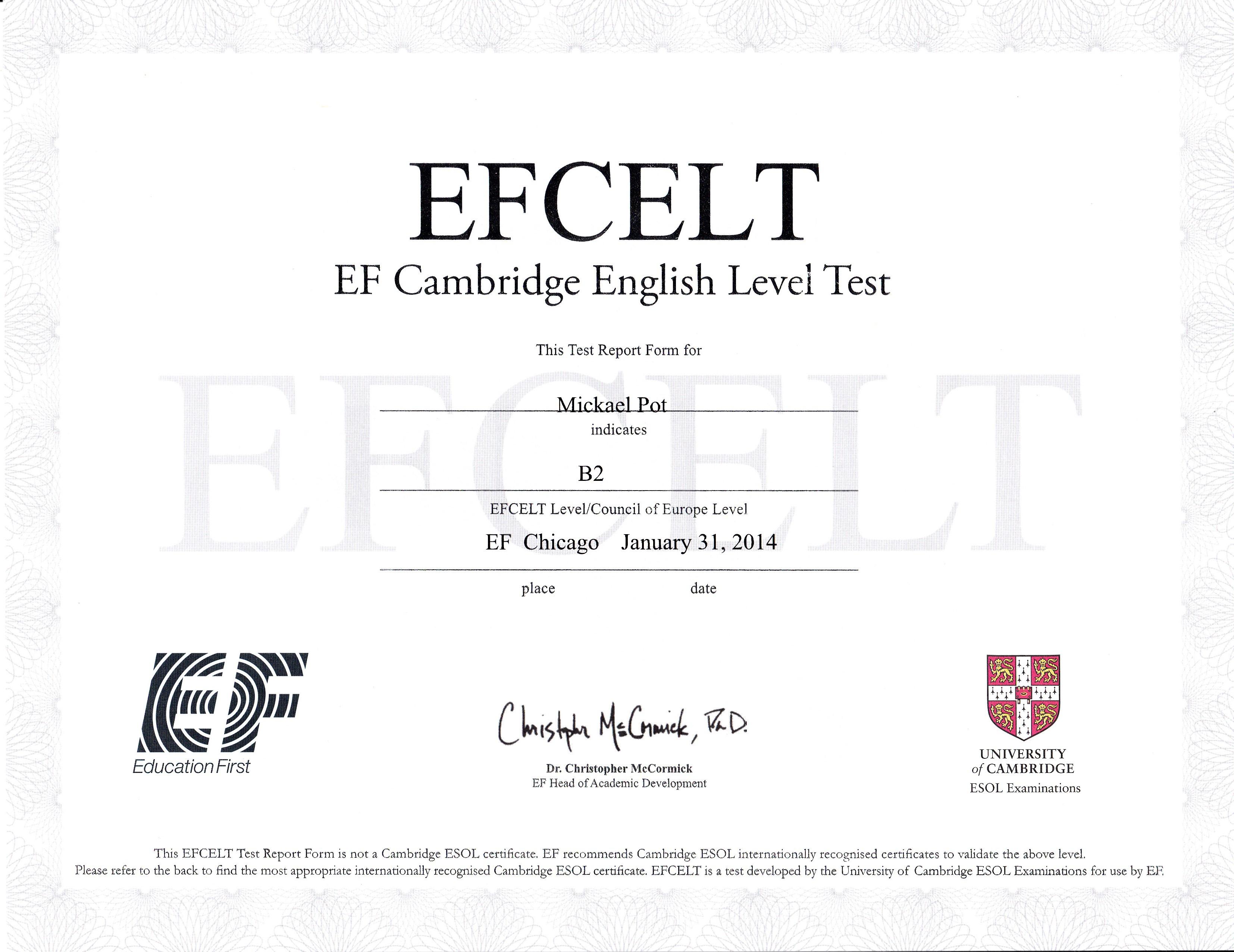 certificat niveau d u0026 39 anglais - cv