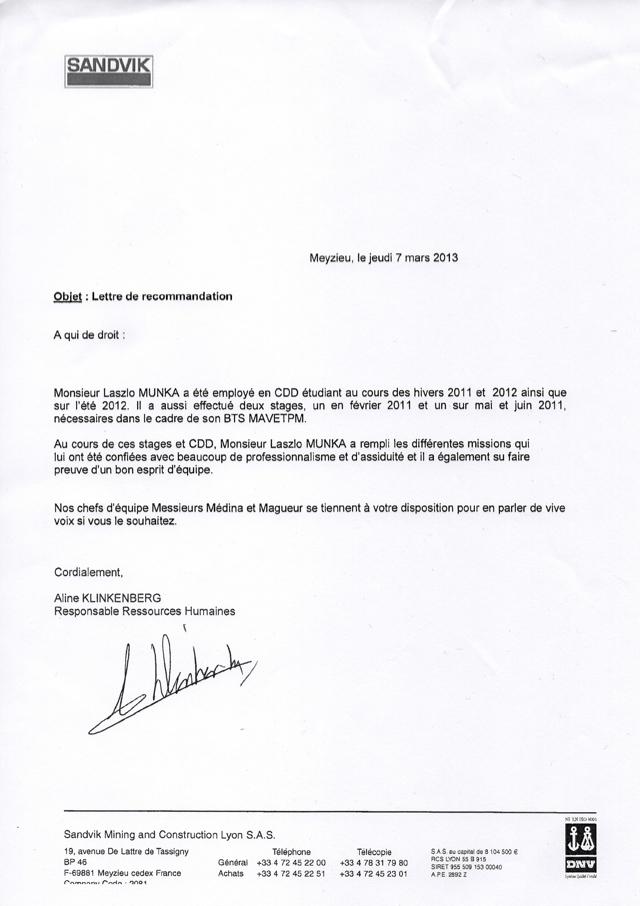 lettre de recommandation sandvik lyon - cv