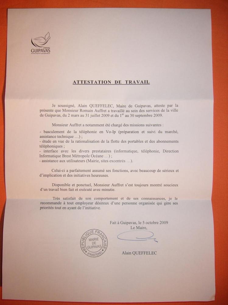 attestation de travail mairie de guipavas - cv